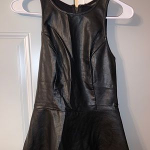Guess faux leather peplum top